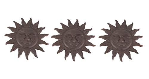 Things2Die4 Set of 3 Cast Iron Smiling Sun Face Garden Pathway Stepping Stones