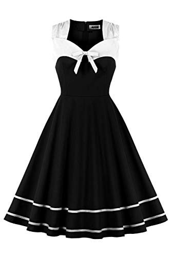 AXOE Damen Elegant Audrey Hepburn Kleid Rockabilly 60er Jahre Weiß Schwarz Gr.50, 4XL