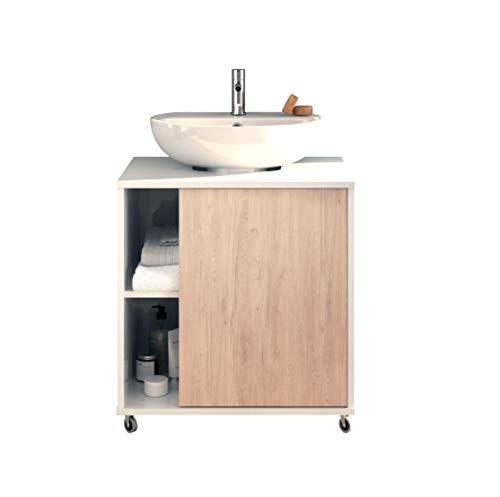 Mueble bajo lavabo con ruedas para pie con pedestal