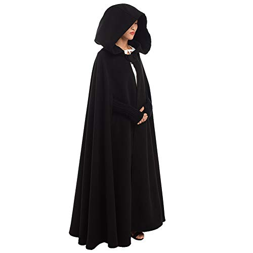 GRACEART Women's Hoodie Woolen Cape Cloak Costume Long Black