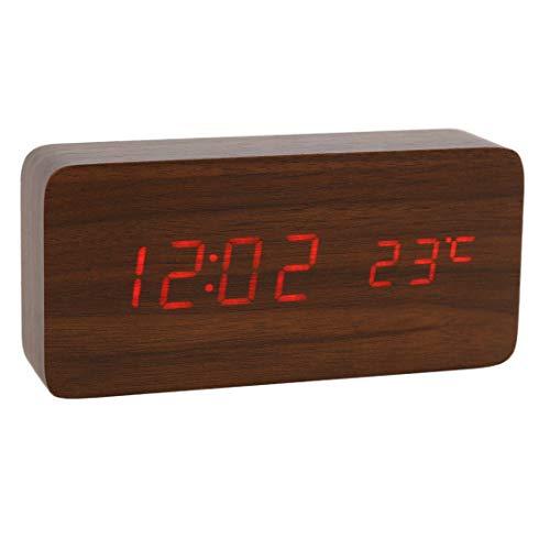 Lancoon Reloj Digital De Madera - Reloj Despertador Multifunción con Visualización De La Hora/Fecha/Temperatura Y Control De Voz para Viajes A La Oficina En El Hogar - AC11Brown_Red