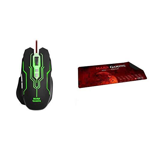 MARSGAMING MM216 Ratón Gaming para PC (5000 dpi, Sensor óptico Avago, iluminación LED 6 Colores + MMP2 Alfombrilla de ratón para Gaming (Alta precisión con Cualquier ratón