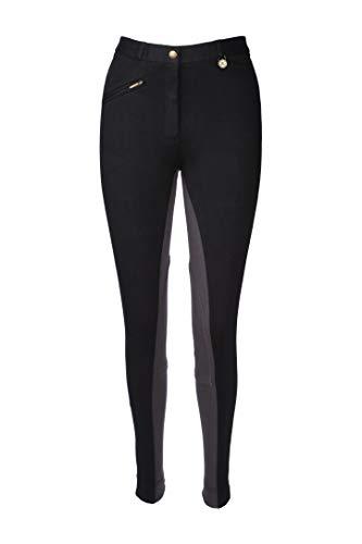 Mujer Pantalones de montar A Caballo pantalones NEGRO GRIS Todas Las Tallas Equitación pantalones de montar Ecuestre Ropa Suave Elástico Spandex Algodón - Negro/Gris, EU 44 (86 cm)
