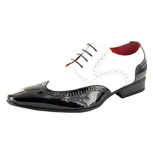 Herren, Brogue-Schuh, Abendgarderobe, Lackleder-Optik, spitz zulaufender Zehenbereich,schwarz - schwarz / weiß - Größe: 43 EU