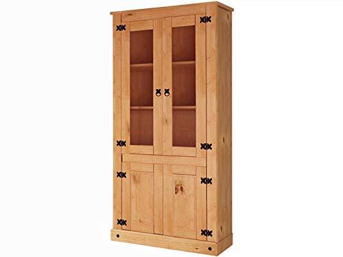 Loft24 Vitrine Landhaus Vitrinenschrank Standvitrine Schrank Esszimmer Küche Kiefer Massivholz 81 x 38 x 177 cm gebeizt geölt