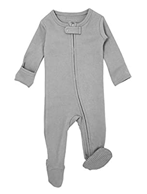 L'ovedbaby Organic Zippered Footed Overall (3-6 Months, Light Gray)