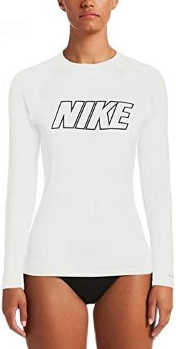 Nike Swim Women's Short Sleeve Hydroguard Rash Guard White Medium/White