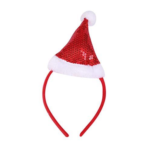 Guangzhou, Diadema navidea para nios y Adultos, Divertidos Dibujos Animados, Lentejuelas Brillantes, Sombrero de Santa, aro para el Cabello, Rojo