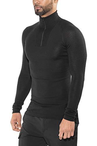 Woolpower Lite Sweat-Shirt à col roulé avec Demi-Zip, Black Modèle M 2021 sous-vêtement