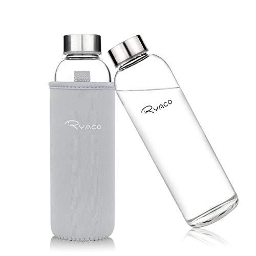 Ryaco Glasflasche Trinkflasche Classic Tragbare 550ml BPA-frei für unterwegs Sportflasche Glas Wasserflasche zum Mitnehmen von kalten Heiß Getränken mit Neopren Tasche und Schwammbürste (Hellgrau)