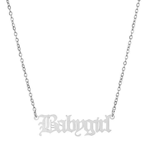 Garispace Babygirl Halskette Einfache stilvolle gravierte Wörter Schlüsselbein Kette Halskette Halsreif Vintage Vintage Paar Halskette Edelstahl Schmuck Geschenk,Stahlfarbe