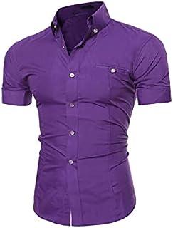 Nbhjzbcsmdx Mens Cotton T shirts. Men Shirts Tops Summer Social Chemise Men's short Sleeve Shirt New Mens Homme Solid Colo...