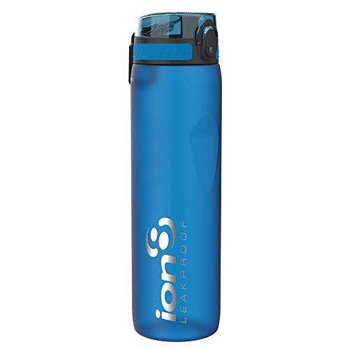 Ion8 1 Litro Botella Agua Deportiva Sin Fugas, Sin BPA, Azul