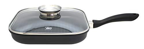 ELO Grillpfannne Ø 28 cm ALUCAST, Pfanne aus Aluminium mit Glasdeckel und Antihaftbeschichtung, Pfanne für Ceran-, Gas-, Elektro-, Induktionsherde - spülmaschinengeeignet, Farbe: Schwarz