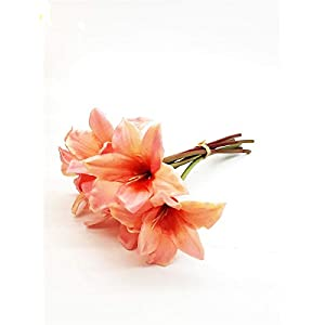 RuPost Artificial Plants: Bouquet of Artificial Flowers Amaryllis Bouquet of 7 Branches Real Touch