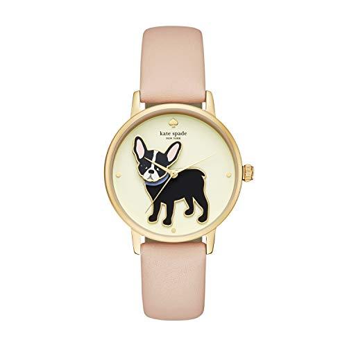Kate Spade New York Women's Metro Quartz Stainless Steel, Leather French Bulldog Watch, Color: Rose Gold, Beige Bulldog (Model: KSW1345)