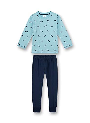 Sanetta Jungen Schlafanzug lang blau Pyjamaset, Lagune, 128