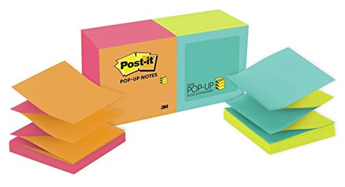 Post-it Pop-up Notes, 3 in x 3 in, 12 Pads, America's #1 Favorite Sticky Notes, Cape Town Collection, Bright Colors, Clean Removal, Recyclable (R330-N-ALT)