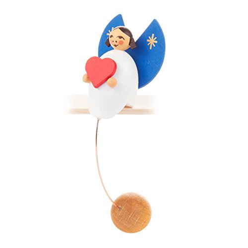 Miniatur-Schaukelfigur Engel mit Herz - Dregeno Erzgebirgische Holzkunst - Artikel 222/055/6