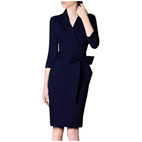 Damen Blazer Kleid Kolylong® Frauen Elegant Langarm V-Ausschnitt mit Gürtel Hemdkleid Business Slim Fit Lange Hülse Büro Jacken Knopf Anzug Mantelkleid Hemdkleid