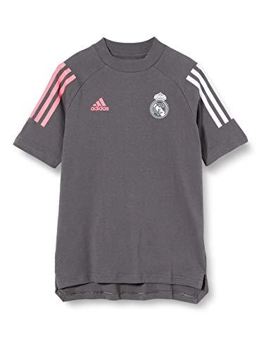 Adidas Real Madrid Temporada 2020/21 Camiseta Viaje Oficial, Niño, Gris, 9/10 años