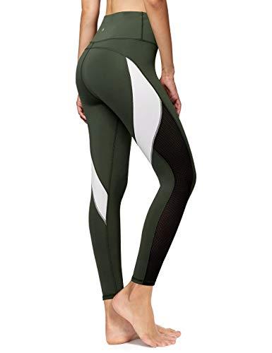 QUEENIEKE Femmes Pantalon De Yoga Blocage De La Couleur Maillage Entraînement Running Leggings Collants Couleur Vert Mousse Taille XS