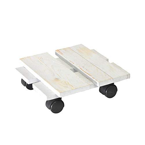 WAGNER Chariot de Plantes LOFT Shabby Chic 28 x 28 x 8 cm   pour intérieur, pin   Style rétro en Bois Massif ondulé, certifié FSC®, Brut de sciage, Blanc   Capacité de Charge 100 kg - 20085601