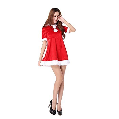 QPYUS Disfraces para Adultos Disfraz De Navidad Cosplay Lencería Sexy Catwoman con Sombrero Temptation-Red_One Size