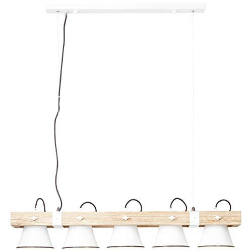 BRILLIANT lamp Plow hanglamp 5-lichts wit/licht hout |5x A60, E27, 10W, geschikt voor standaardlampen (niet inbegrepen) |Schaal A ++ tot E |Hoofden draaien