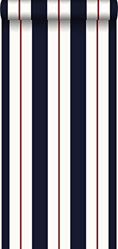 Tapete Streifen Rot, Weiß und Blau - 935213 - von Sanders & Sanders