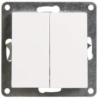 VARIATION Lichtschalter Schalter Taster Wechsel-Serien-Schalter Jalousie-Schalter Dimmer Antennen-Dose ISDN-Steckdose für RJ45 + RJ11 (Unterputz Serienschalter 2fach (ohne Rahmen!))