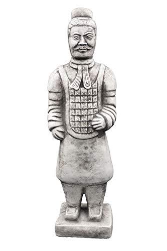 gartendekoparadies.de Massive Steinfigur chinesischer Terrakotta Krieger mittel Motiv II aus Steinguss frostfest