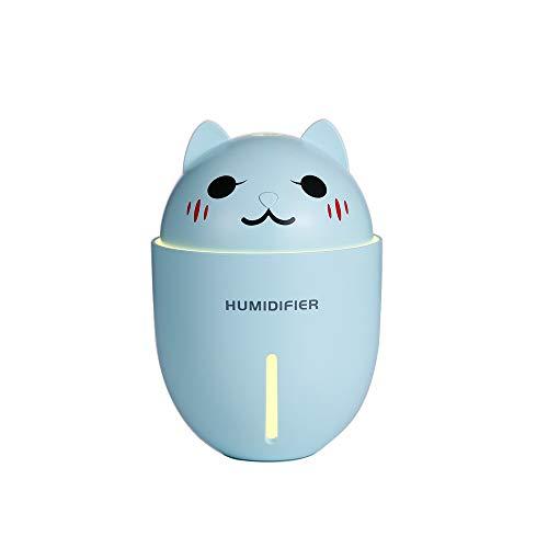 LWGY Humidificador Animal Mini Escritorio Humidificador Escritorio Dormitorio Ventilador Silencioso Tres en 1 lindo (Azul)