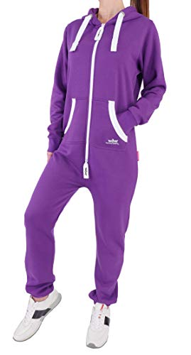Finchgirl Damen Jumpsuit Jogger Jogging Anzug Trainingsanzug Overall, Lila, XL