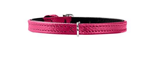 HUNTER TINY PETIT Hundehalsband für kleine Hunde, Leder, Nappaleder, weich, schmal, leicht, 24 (XXS-XS), pink/schwarz
