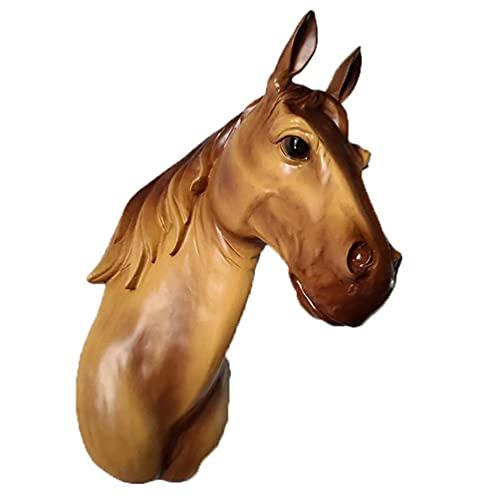 Escultura de pared de trofeo de busto de cabeza de caballo, estatua de poliresina, centro de mesa colgante de pared de fondo con efecto realista de animal de imitación, regalo decorativo, colo