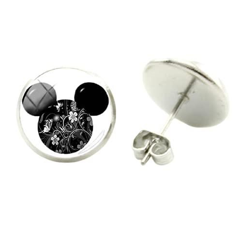 Pendientes colgantes de Mickey Mouse, hechos a mano, retro, redondos, cabujón de cristal