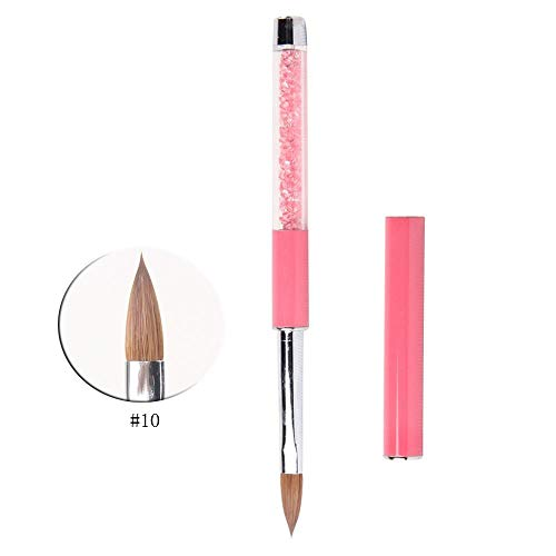 BQAN 1Pc Acrylic Nail Art Brush With Pink Rhinestone Handle Pure Kolinsky Hair Nail Tools #10 by BQAN