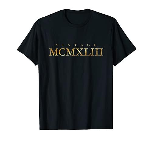 Vintage MCMXLIII (Giallo Antico) Annata 1943 78° Compleanno Maglietta