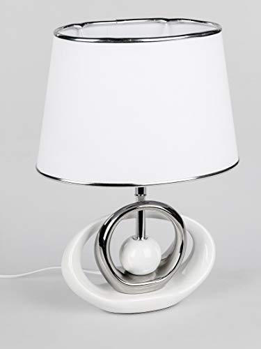 Formano Tischlampe, Leuchte KUGEL H. 39cm B. 20cm weiß silber Keramik