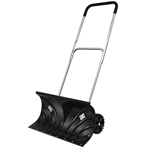 For Sale! GYMAX Rolling Snow Pusher, Heavy Duty Adjustable Snow Shovel with 26 Plate & Anti-Skid Wh...