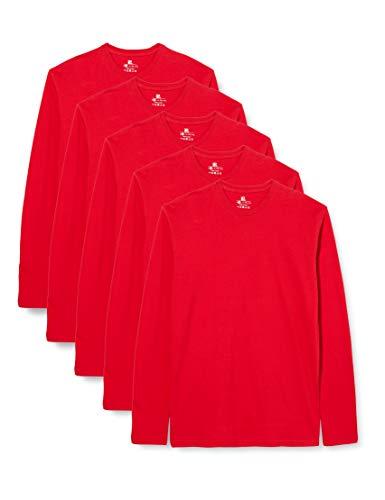 Lower East Camiseta de manga larga Hombre, Pack de 5, Rojo, L