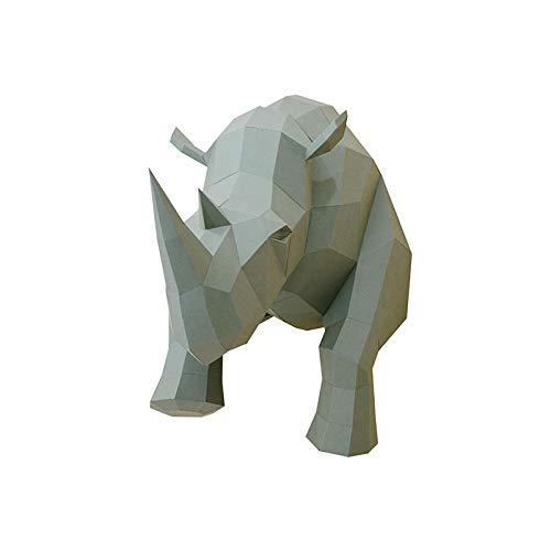 QIBAJIU Figurasestatuillaestatuasgeometría Origami Rinoceronte DIY Figurita 3D Animales Colgante De Pared Papel Arte Y Artesanía Sala De Estar Decoraciones Muebles