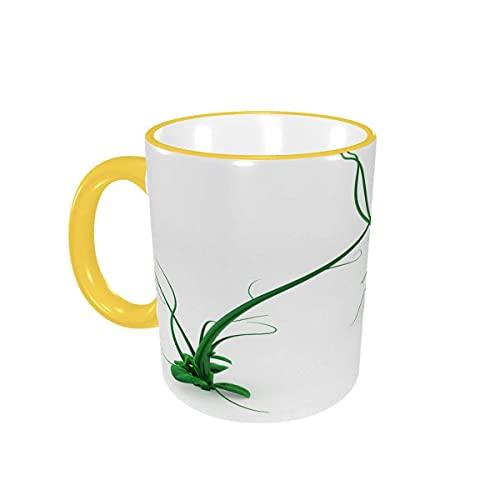Taza de café Tazas de café de Planta de Vid 3D Verde de Dibujos Animados Divertidos Lindos Tazas de cerámica con Asas para Bebidas Calientes - Cappuccino, Latte, Tea, Cocoa Gifts 12 oz Sky Blue