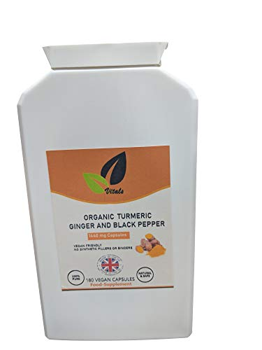 Organic Turmeric with Black Pepper & Ginger Capsules |180 Vegan Turmeric Capsules High Strength 1440mg (3 Months Supply) | Turmeric and Black Pepper Capsules | Turmeric Curcumin, UK