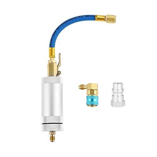Reunion R134A Kompressor Ölfarbstoff Ejektor, 1/4 Zoll SAE männlich und weiblicher Doppelkopfkühlschrank Klimaanlage Ölfüllzylinder R (Color : Silver and Bule)