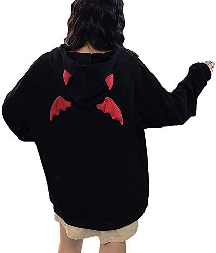 Suéter para mujer con capucha de ala diablo de manga larga suelta, sudadera con estampado de Halloween para mujer
