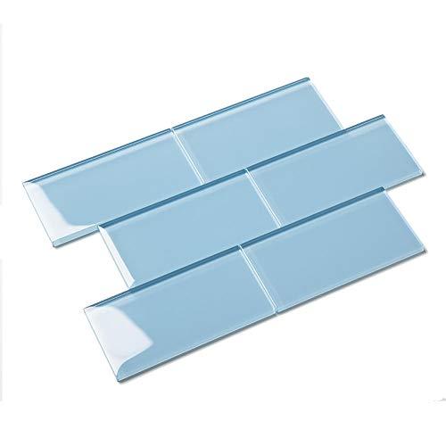 Diflart Glasfliesen für Küche, Badezimmer, Wand, Pool, Fliesen, Blau, 40 Stück