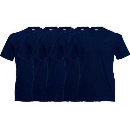 Fruit of the Loom Original T Rundhals T-Shirt F140 5er Pack- Gr. S, Deep Navy