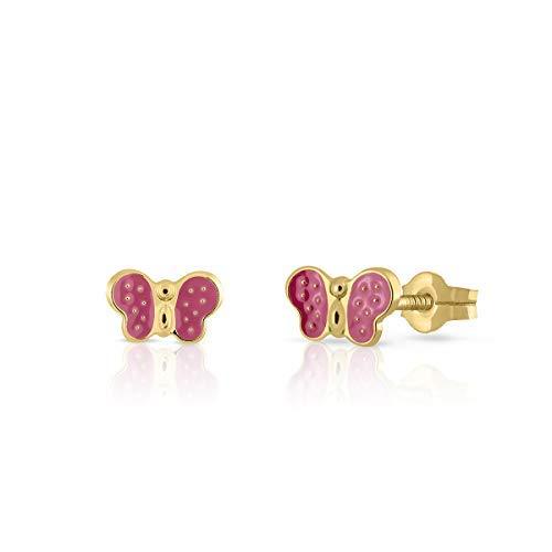Pendientes en oro real, bebe niña o mujer, diseño mariposa con esmalte de color rosa. Medida de la...